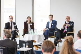 Diskussionsrunde bei den 20. Würzburger Gesprächen zum Umweltenergierecht mit Dr. Nils Wegner, Monika Agatz, Dr. Nicolai Herrmann und Thorsten Müller