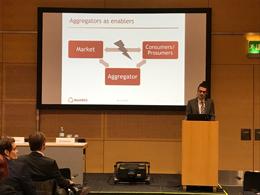 Maximilian Wimmer spricht zu Aggregatoren bei der European Utility Week in Wien.