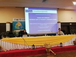 Victoria Roux spricht bei der zweiten World Community Power Conference in Bamako (Mali) zu Community Power in Frankreich und Deutschland.